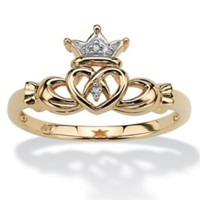 Diamond Accent 10k Yellow Gold Traditional Celtic Symbol Claddagh Ring on PalmBeach Jewelry