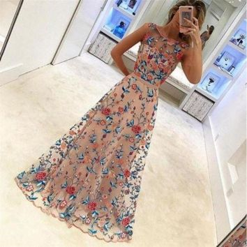 DCCKFS2 Woman Maxi  Dress Long Sleeves Lace Embroidery with pearl Elegant Embroidery Floral Dresses  Formal Evening Party