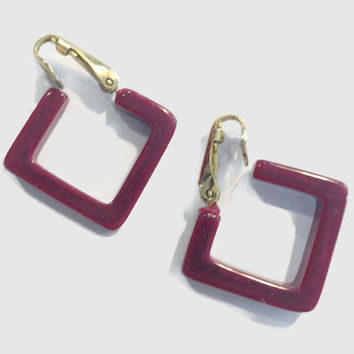 Vintage Red Bakelite Era Square Hoop Clip Earrings