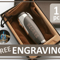 1 pc PERSONALIZED Engraved 3 Torch Jet Cigar Lighter Punch Cuban - Gift for Groomsman Groom Groomsmen Wedding Father Father's Day Gift