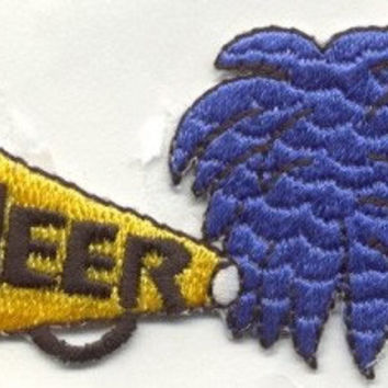 CHEERLEADER MEGAPHONE BLUE Iron On Applique Patch or sew on Looks Real by Cedar Creek patch Shop on Etsy