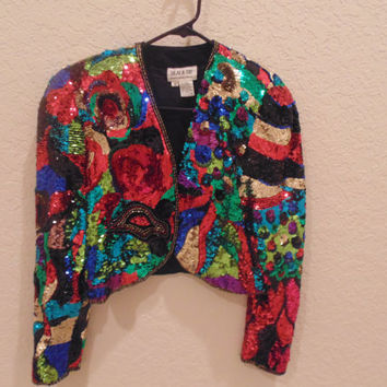 Colorful Sequin Crop Jacket