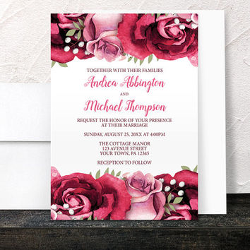 Burgundy Rose Wedding Invitations - Rustic Burgundy Pink Rose on White Floral - Printed Invitations