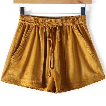 Yellow Ruched Short