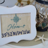 Custom Embroidered Latitude / Longitude Home Sign - Wall Art / Ready To Frame