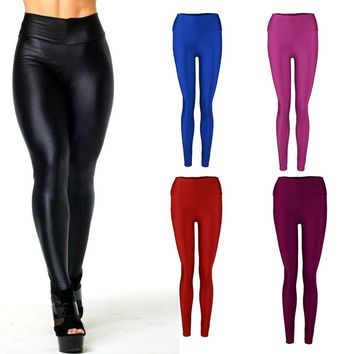 Women Shiny Elastic High Waist Stretchy Candy Colors  pants