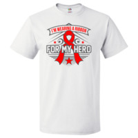Pulmonary Embolism Ribbon For My Hero T-Shirt - White | Cancer Shirts | Disease Apparel | Awareness Ribbon Colors