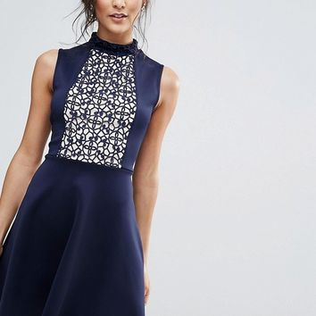 Club L Skater Dress With Lace Panel at asos.com