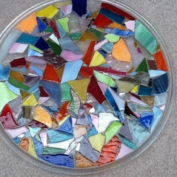 """Serving Tray Round Stained Glass Mosaic 12"""""""