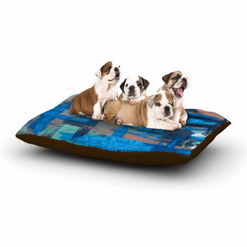 "Bruce Stanfield ""Hyper Blue"" Beige Painting Dog Bed"