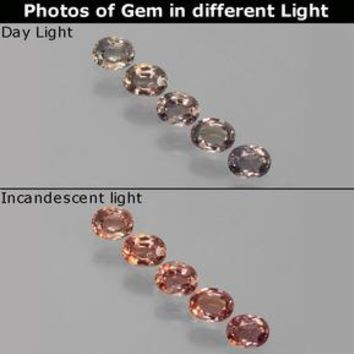 1.11 ct (total) Oval Facet Multicolor Color-Change Sapphire 4.1 x 3.2 mm