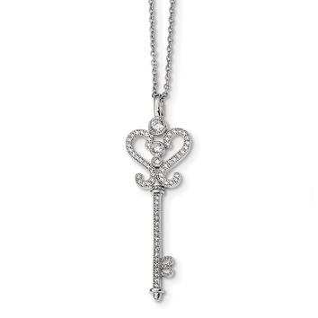Sterling Silver & CZ Brilliant Embers Polished Key Necklace QMP291
