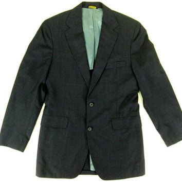 Vintage J. Press Blazer - Sport Coat Suit Jacket Charcoal Gray Wool Preppy Ivy League Menswear -Men's Size 38 Medium Med M