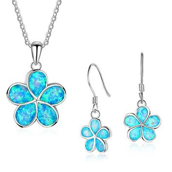 Sterling Silver Gemstone Flower Pendant Necklace Flower Necklace and Earring Set for Women