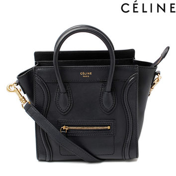 Celine handbags CELINE Nano shopper luggage Dark Navy 168243 strap with 2-way