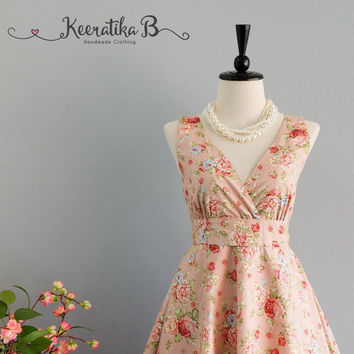 My Lady II - Pale Pink Floral Summer Dress Pink Floral Sundress Vintage Design Country Prom Dress Pink Floral Wedding Bridesmaid Dress XS-XL