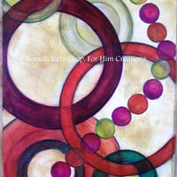 "ABSTRACT PAINTING, Original Abstract Painting,""Connections"" - Circles of Fun - Greens, Gold, Burgandy, Red, Earthtones"