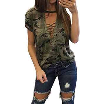 Women Tops Sexy Camouflage T-shirt Amry Short Sleeve Bandage Deep V Lace Up 2017 Fashion New T shirt Tees Casual Cotton Tshirt