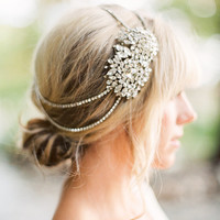 Leda  Swarovski Crystal Headband  Silver Bridal Headpiece  Wedding