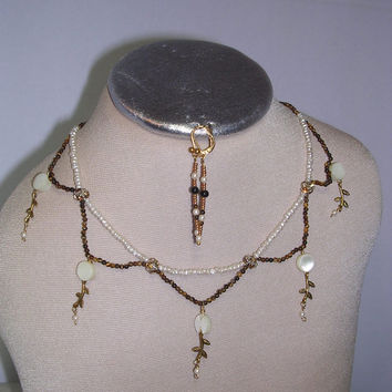 Victorian Style Necklace:  Brown Tiger eye & Pearl Beads, Hanging Brass and Mother Pearl Charms