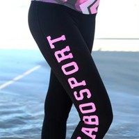 Black Sabo Sport Tights with Pink Arrow Print