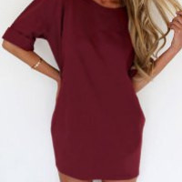 Red Short Sleeve Mini Dress