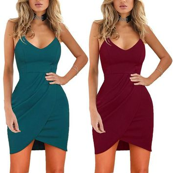 Summer Women Sexy Wrapped Hip Harness Irregular Dress
