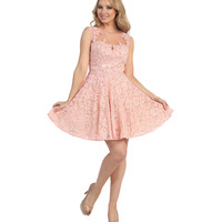 Blush & Nude Open Back Beaded Lace Short Dress 2015 Homecoming Dresses