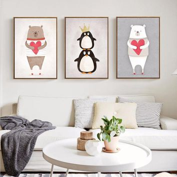 Modern Nordic Kawaii Animals Bear Hippo Penguins Painting Poster Print Wall Art Picture Canvas Painting for Kids Room Decor