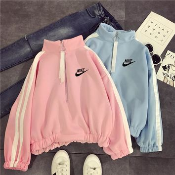 """Nike"" Women Casual Fashion Multicolor Stripe Long Sleeve Zip Turtleneck Sweater Pullover,Tops"