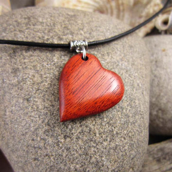 Wood Heart Necklace, Red Bloodwood Heart Shaped Pendant With Simple Leather Necklace, Hand Carved Wood Heart Charm