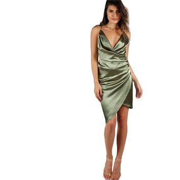 Sexy Wrap Zip Back Draped Party Dress