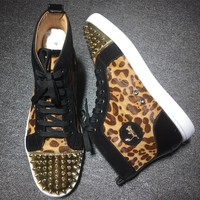 Christian Louboutin CL Lou Spikes Style #2194 Sneakers Fashion Shoes Best Deal Online