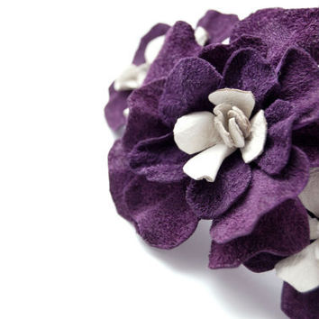 Purple leather floral hair clip