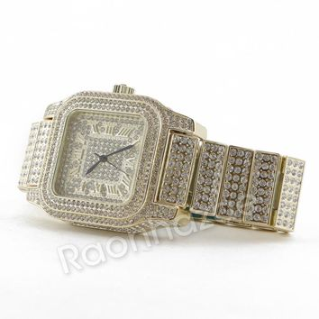 Hip Hop 14K Gold Simulated Diamond Watch  F46