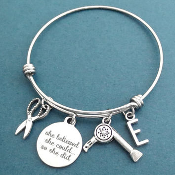 Personalized, Letter, Initial, She believed, She could..., So she did, Hair dryer, Scissors, Silver, Bangle, Bracelet, Gift, Jewelry