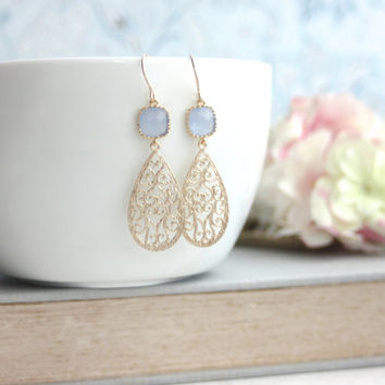 Cornflower Blue Paisley Filigree Sweet Ice Blue Gold Framed Glass Dangle Earring. Modern, Bridesmaid Gift. Sister, BFF, Wife, Something Blue