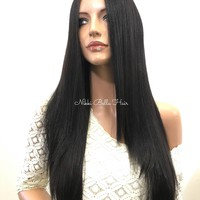 Black Human Hair Blend Lace Front Wig -  Lona 6101719 ON SALE