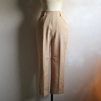 80s Vintage Ralph Lauren Pants Polo Camel Wool Casual Womens Trouser 8 Made in USA