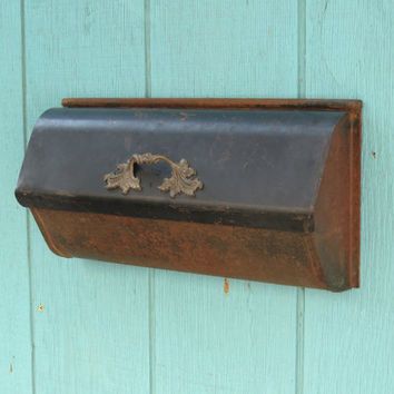 Vintage Mailbox . Metal Wall Mount . Black With Lots Of Rusty Patina . Mid Century Mail Box Circa 1950s