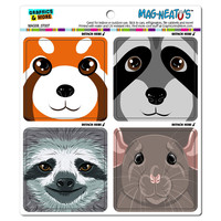 Animal Faces Close-up Red Panda Raccoon Sloth Mouse MAG-NEATO'S TM Car-Refrigerator Magnet Set