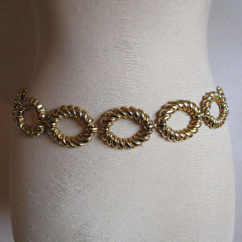 80s Gold knot Belt Vintage Textured Ovals Gold Tone 1980s Chain Belt