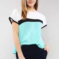 Color Block Chiffon Top