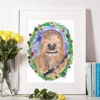 Chewbacca Watercolor Art Print, Star Wars Fan Art, Chewie Print