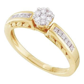 14kt Yellow Gold Women's Round Diamond Flower Cluster Ring 1/4 Cttw - FREE Shipping (USA/CAN)