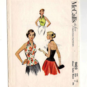 Halter Top 50's Rockabilly Vintage Long Line Vintage McCalls 9423 Sewing Pattern Cut and Complete Envelope in Rare Condition