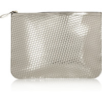 Pierre Hardy | Embossed metallic leather clutch | NET-A-PORTER.COM