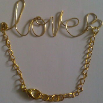 Gold Love Wire Bracelet by allthingswildandfree on Etsy