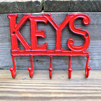 "Red Cast Iron ""KEYS"" Wall Hook by AquaXpressions"