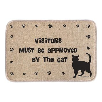 Entrance Doormat With Cat Sign Visitors Must Be Approved Cute Animals Home Decor Door Mats Short Plush Fabric Bathroom Mats